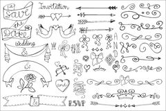 Wedding ribbons, swirl borders,decor set.Doodle Royalty Free Stock Photos
