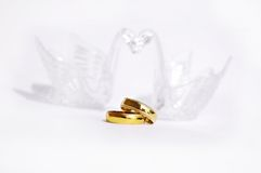 Wedding ring. Two swans love, Extreme closeup of Wedding ring with clipping path Stock Photography