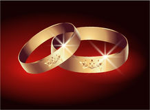 Wedding ring. Card with golden wedding ring Royalty Free Stock Image