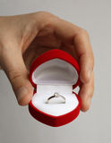 Wedding Ring. In Heart-shaped box Royalty Free Stock Photography