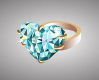Wedding ring. Golden wedding ring adorned with a blue heart-shaped precions stone. Vector illustration Royalty Free Stock Image