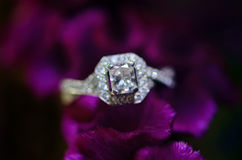 Wedding ring. Her diamond wedding ring in bouquet of purple flowers stock photo