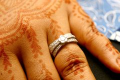 Wedding ring. A wedding ring on a woman's finger Stock Photography