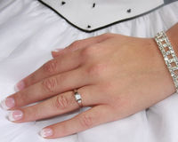 Wedding ring. On brides hand stock photo