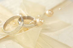Wedding Ring. With a pearls stock photos