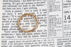 Wedding Ring on a Bible. A wedding ring on a bible open to marriage scripture Stock Images
