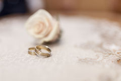 Wedding ring. And the bible Stock Photography
