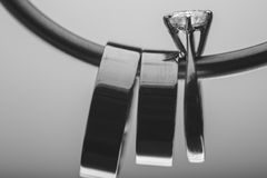 Wedding ring black & white Stock Photo