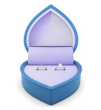 Wedding ring in the blue box on a white background. 3d rendering Royalty Free Stock Photography