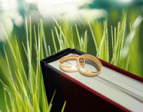 Wedding ring on book Stock Photos