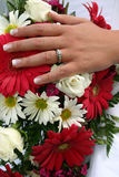 Wedding Ring and Bouquet stock photos