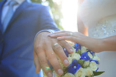Wedding Ring. And wedding bouquet stock images