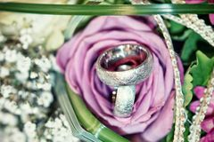 Wedding ring. In a bouquet of flowers Royalty Free Stock Photography