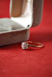 Wedding ring and box Stock Images