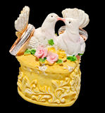 Wedding ring box with two kissing pigeons Royalty Free Stock Photo