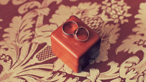 Wedding ring on the box Royalty Free Stock Photo