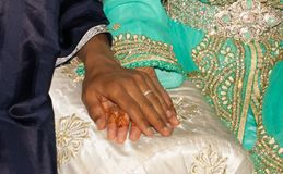 Wedding ring on bride hand in Morocco. Wedding ring on bride hand in Morocco Stock Photo