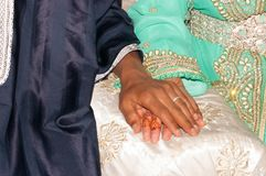 Wedding ring on bride hand in Morocco. Wedding ring on bride hand in Morocco Stock Photos