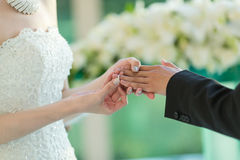 Wedding ring. Bride put the wedding ring on the bridegroom's finger royalty free stock image