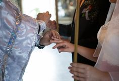 Wedding ring on the bride`s finger. Wedding ceremony in the Russian Christian Church royalty free stock photo