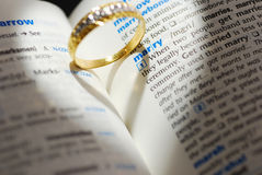 Wedding ring casting a heart onto a marry word Royalty Free Stock Images