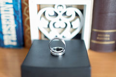 Wedding ring. Closeup on a black box Royalty Free Stock Images