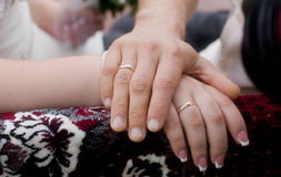 Wedding ring on couples hand. For marry Stock Photography