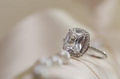 Wedding ring with diamond Stock Photos