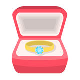 Wedding ring with a diamond in a box. Gift to the bride.Wedding single icon in cartoon style vector symbol stock Stock Photos