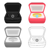 Wedding ring with a diamond in a box. Gift to the bride.Wedding single icon in cartoon style vector symbol stock Royalty Free Stock Image