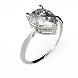 Wedding ring with diamond. 3D rendering Royalty Free Stock Photos