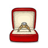 Wedding ring with diamond in a gift box. Vintage color vector engraving illustration. For poster, label, web. Isolated on white background. Hand drawn design Royalty Free Stock Image