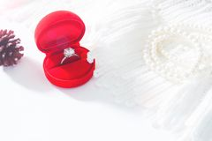Wedding ring, Diamond ring in red box. Selective focus Stock Photos
