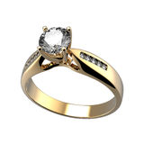 Wedding ring with diamond. Sign of love Stock Photos