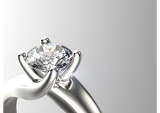 Wedding ring with diamond on white background. Sign of love Royalty Free Stock Image