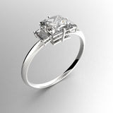Wedding ring with diamonds. 3D rendering royalty free stock photo