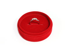 Wedding ring. Engagement ring in red box gift Royalty Free Stock Images