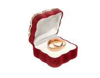 Wedding ring. Engagement ring in red box gift Stock Image