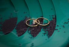 Wedding ring and engagement ring Stock Photos