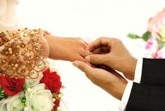 Wedding ring exchange ceremony Stock Photography