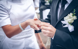 Wedding ring exchange Stock Images
