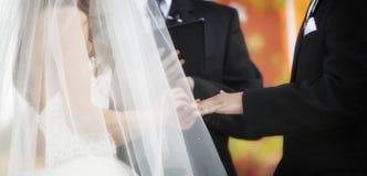 Wedding Ring Exchange Horizontal Banner. Horizontal banner of bride and groom exchanging wedding rings royalty free stock photos