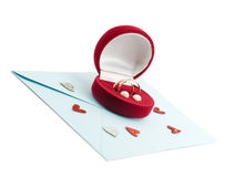 Wedding ring in a gift box on the mail envelope Royalty Free Stock Photos