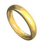 Wedding ring in gold 3D Stock Photography