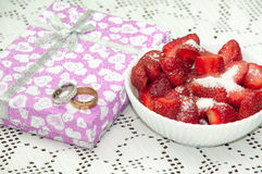 WEDDING RING GOLD DIAMOND STRAWBERRIES SUGAR Stock Photos