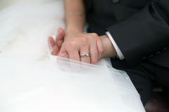 Wedding ring on hand Royalty Free Stock Photos