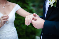 Wedding ring at the hand of the bride Royalty Free Stock Photography