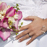 Wedding ring and bouquet Royalty Free Stock Image