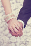 Wedding ring on hand Stock Photo
