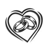 Wedding ring in heart. Vector illustration isolated on white background Stock Image